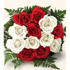 One dozen Red & White Mix Roses in a Bouquet