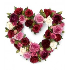 Red and Pink Roses in a Heart Shape Basket