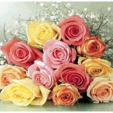 1 dozen Multicolor Roses in a Bouquet