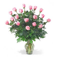 2 dozen Pink Roses in a Glass Vase