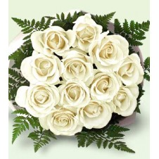 One dozen White Roses in a Bouquet