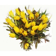12 pcs Yellow Colored Tulips in a Bouquet
