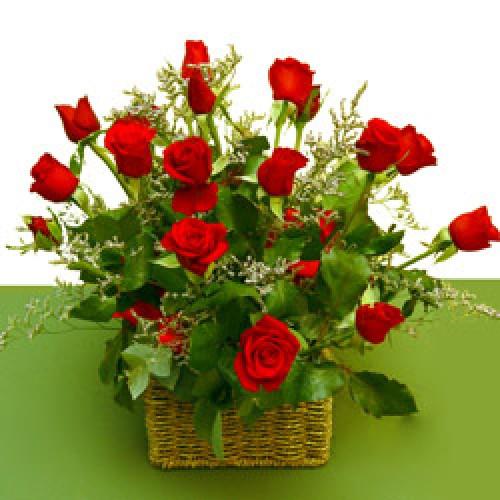 2 dozen Red Roses in a Basket