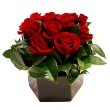 Deep Red Roses in a Basket