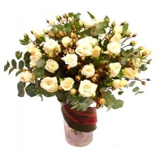 2 dozen White Roses Arranged in a Vase