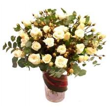 2 dozen White Roses Arranged in a Vase