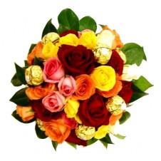 2 Dozen Multicolored Roses in a Basket with Ferrero Chocolates