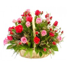 2 dozen Red & Pink Roses in a Basket
