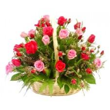 2 dozen Red & Pink Roses in a Basket
