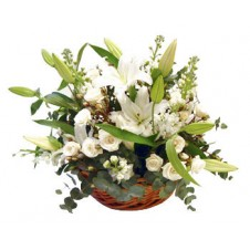 White Roses and Lilies in a Basket