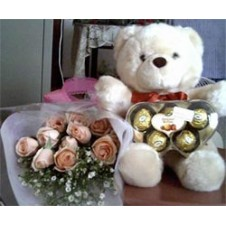 Bear With 1 Dozen Rose in a Bouquet  and Chocolate