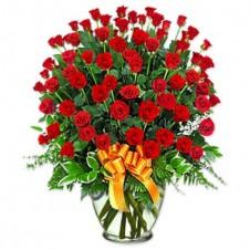 5 Dozen Red Roses in Vase