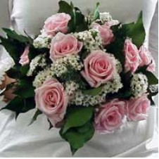 One Dozen Pink Roses in a Bouquet 1