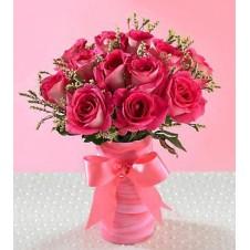 One Dozen Pink Roses in a Vase