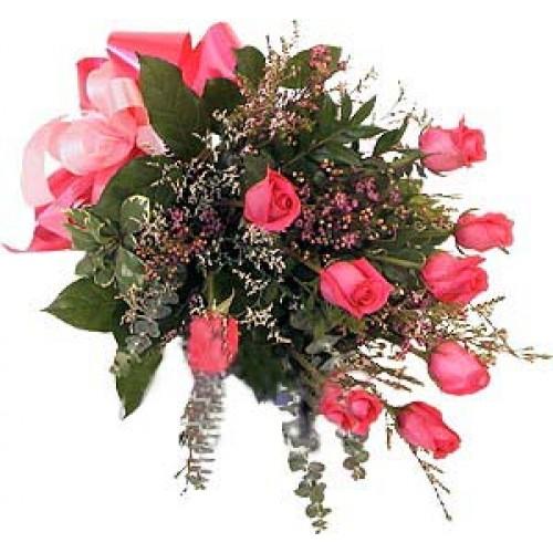 1 dozen Pink Roses in Bouquet