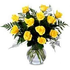 One dozen Yellow Roses in a Vase