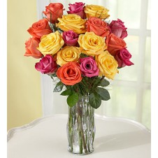 18 Assorted Roses in a Vase