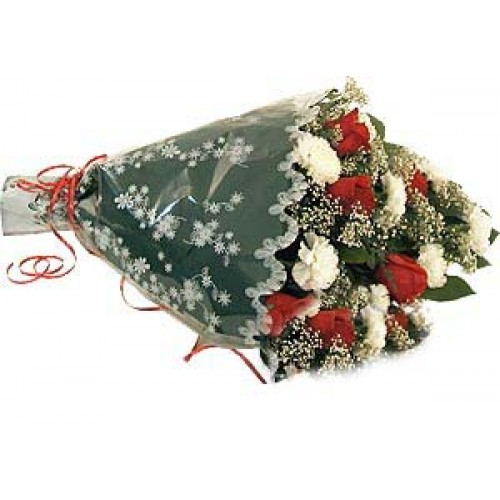 Bouquet of Red Roses and White Carnations