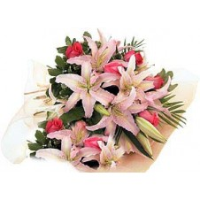 Beautiful Hand Tied Bouquet of Pink Flowers