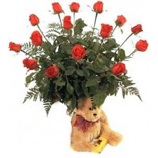 Deluxe 12 Long Stemmed Red Rose in a Vase with Teddy Bear and Chocolates