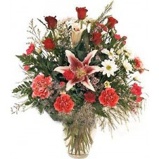 Beautiful Large Red Roses in a Vase