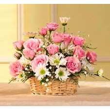 Pink Roses and Daisies in a Basket