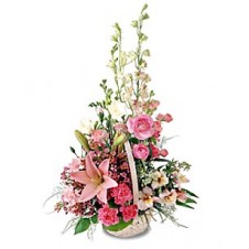 A Basket of White and pink Flowers