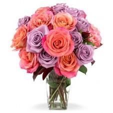 Orange and Purple Roses in a Vase