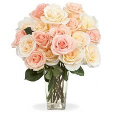 2 Dozen Peach Roses in a Vase