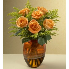 6pcs Orange Roses in a Vase
