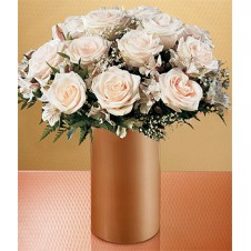 A Dozen of White Roses in a Vase