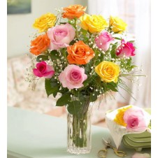 Gorgeous Mixed Roses in a Vase