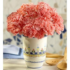 20 Pcs Orange Carnations in a Vase