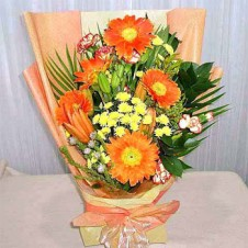 5pcs Orange Flowers in a Bouquet