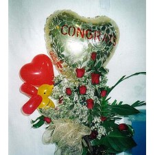 Balloons and 1 Dozen Roses in a Basket