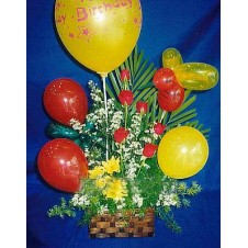 Balloons and 6 Pcs  Roses in a Basket