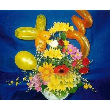 Assorted Daisies in a Basket with Balloons Arrangement