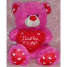 Fuschia Pink I Love You Hug Bear