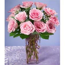 One Dozen Pink Roses in a Vase 2