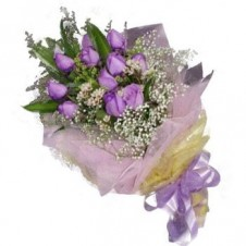 1 Dozen Imported Holland Purple Roses* in a Bouquet