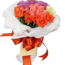 2 Dozen of Mixed Pink, Purple*, Orange & White Roses in a Bouquet
