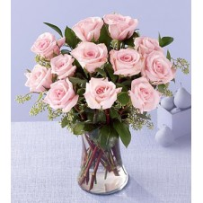 One dozen Pink Roses in a Vase 3