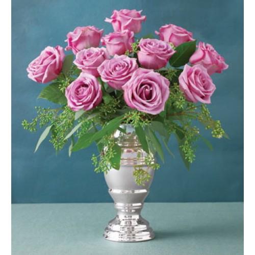 1 Dozen Purple Roses* in a Vase