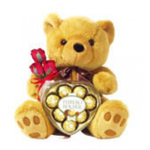 Teddy Bear with Heart shape Fererro Chocolate
