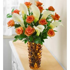 Orange Roses & White Calla Lily in Vase Arrangement