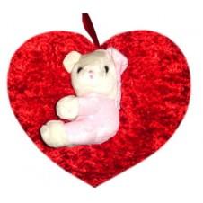 Heart Pillow w/ Bear on Top