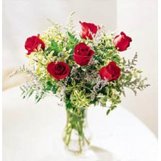 6 pcs Red Roses w/ Greenary in a Glass Vase