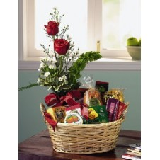 2 Pcs Red Rose and Goodies in a Basket