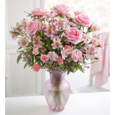 6pcs Pink Roses & Pink Flowers & Carnations in a Vase