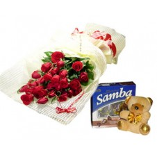 Promo Combo 24 Red Roses Bouquet with Box of Chocolates and Teddy Bear